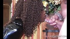 Ebony babe in latex wants ass fuck by her slave