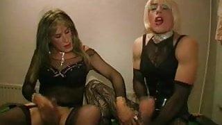 2 TV sluts bareback fuck and suck in the poolroom part 2