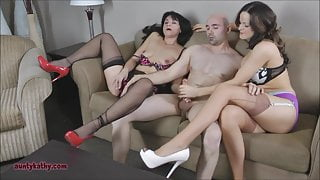 Two milfs sucking and fucking lucky guy