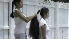 Cecelia and Trinty Dual Long Hair Brushing