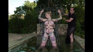 BigTit Blonde Tied Rack Dunking