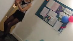 British uni girl dancing in black tights