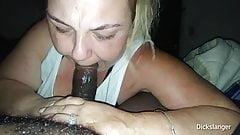 Толстушка делает минет, затем задыхается от спермы, глубоко заглатывая