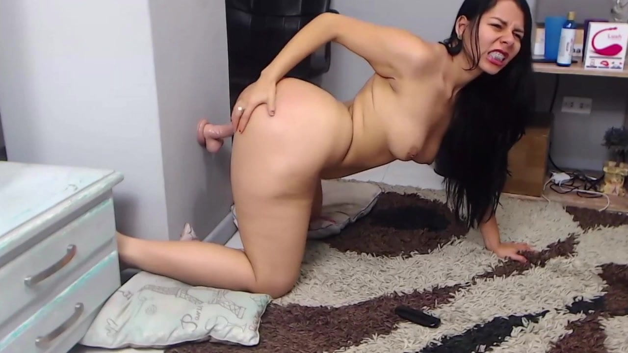 Latina Riding Wet Dildo