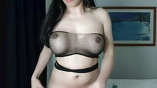 sexy shemale doing strip tease masturbation with cumshot