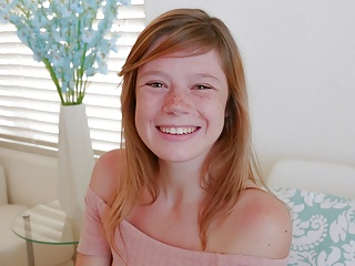 Cute Teen Redhead With Freckles Orgasms During Casting POV