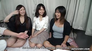 Three Asian bimbos fucked on a bus then creamed