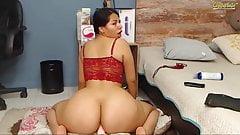 Big Ass Horny Colombian Latina Rides Dildo