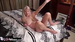 Featured Older Mature Granny Mom Solo Shaved Pussy Masturbating