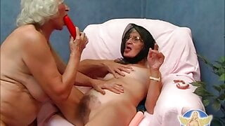 Two perverted grandmothers lick their pussies and play with