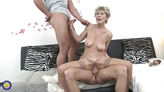 Hairy mature mother sandwiched by two stepsons