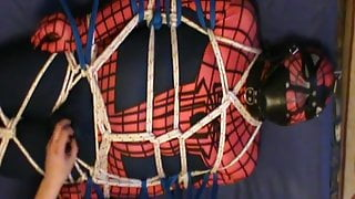 Tied Spiderman on the guest bed