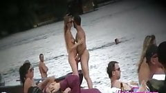 Nudist beach filled with naked pussies goddess in focus