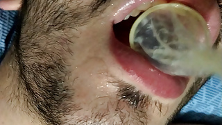 sub drinks cum from condom after being fucked by big cock