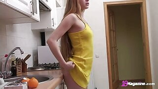 Long Haired Teen Bianca 19 Goofing Around In The Kitchen!
