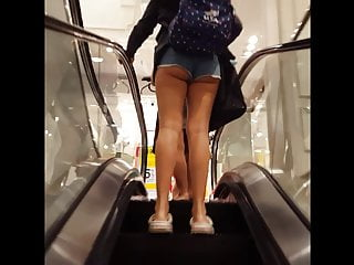 Thick teen clips Candid voyeur hot thick teen ass booty shorts on escalator