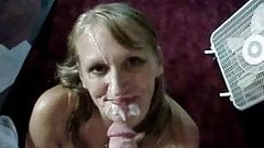 my sexy blonde milf takes a facial