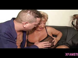Saggy mum sex - Granny mum chubby short haired in threesome of young stepson