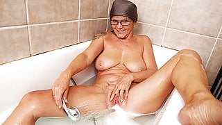 my grandma takes a hot shower