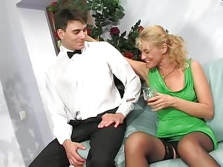 Server waiter in gay bar Mature woman and waiter