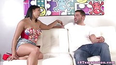Busty asian stepsis jerking dick passionately