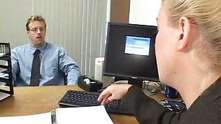 Smart blonde secretary persuades boss to increase her salary