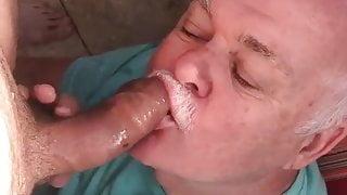 Daddy Sucks Uncut cock
