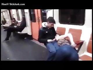 Naked man on subway Bj on subway