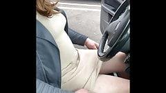 Horny carpark wank in tights pantyhose panties heels boots