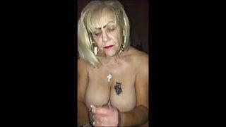 granny giving  a handjob