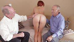 Redhead Teen vs Horny Grandpas