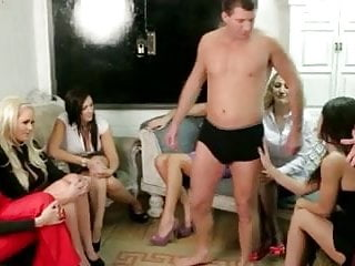 Humiliated strip - Cfnm group enjoy stripping stud so they can jerk him off