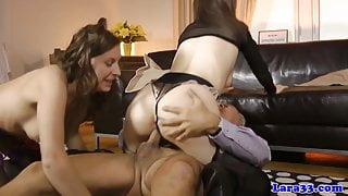 English milf cumswaps with hungarian babe
