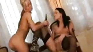 Two Sluts Playing With a Very Long Dildo !!