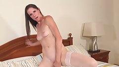 skinny milf fucks her pussy hard