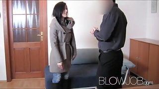 BlowJob First time facial for student