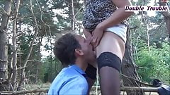 MILF AND HER PUNK DAUGHTER PISS ALL OVER A GUY IN THE FOREST