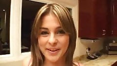 Isabel does a blowjob handjob in the kitchen