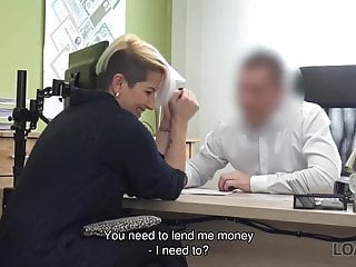Unloading cum on her business jacket Loan4k. lussy sweet needs money for her business so seduces