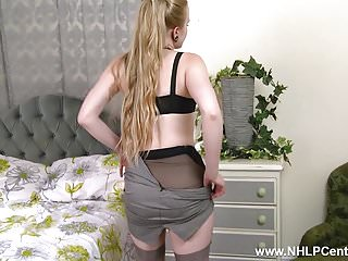 Office anal lingerie blond Blonde office slut toying pussy in stilettos retro nylons