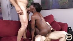 Black chick Ana Foxx hard fucked by two white guys