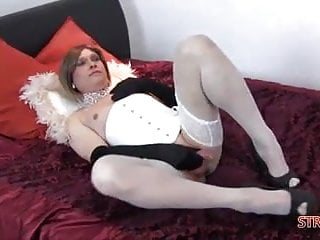 Tranny dickgirl - Sexy femdom fucks blonde trannys tight ass with two strapons