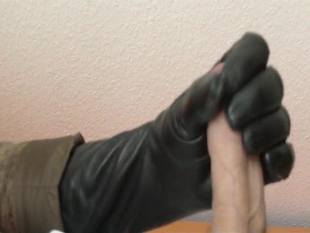 Glovemansion in brown leather glove masturbation