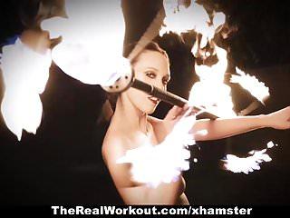 Flaming teen age avi - Teamskeet - brunette fire spinner gets flaming hot fucking