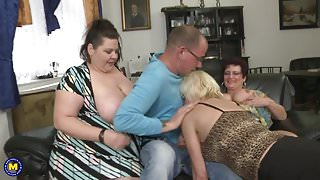 Busty mature Step MOMs attack lucky boy