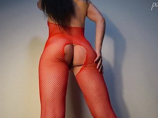 Mom caught masturbating and had sex Hot brunette deep sucking and had sex - in red bodystocking