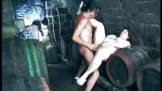 big tits hairy fat stepmom in the wine cellar