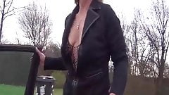 Leather milf pissing