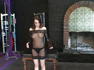 See bdsm - Sexy brunette in see-thru, trussed up like a turkey for a bdsm session