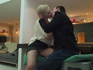 Son rubs moms pussy Hairy mature moms pussy gets sons big cock